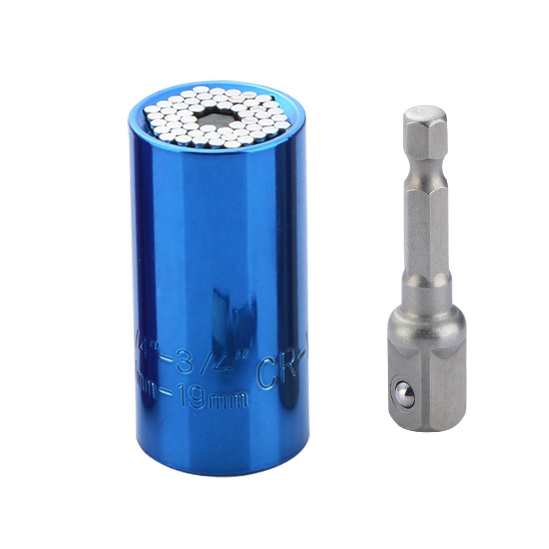 все цены на Universal Multifunctional sleeve Wrench Set Head Key Sleeve Socket 7-19mm connecting rod Ratchet Spanner Power Drill Kits онлайн