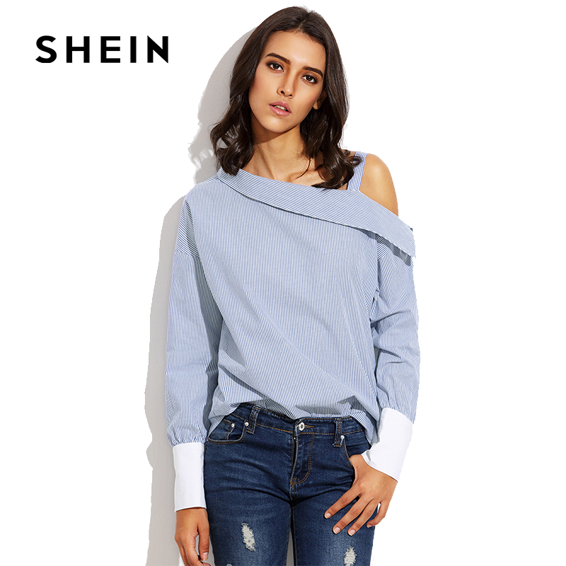 SHEIN Blue Striped Fold Over One Shoulder Contrast Cuff Blouse,2018 Spring Fashion Women Tunic,Long Sleeve Cotton Casual Clothes