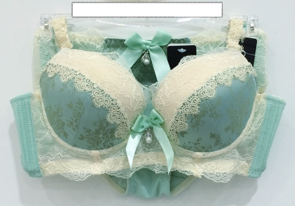 japanese women intimates deep V push up embroidery lace lingerie set underwear bra set