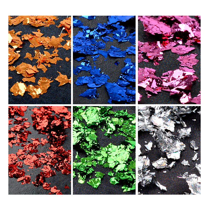 0 2g box 6 Colors Nail Glitter Aluminum Gold Flakes nails powder effect Irregular Sequins Chrome Pigments Nail Art Decorations in Nail Glitter from Beauty Health