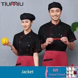 Мужская и женская на одно плечо однотонная дышащая футболка шеф-повара Спецодежда Baebers куртка кухонная куртка M-3XL одежда для официанта