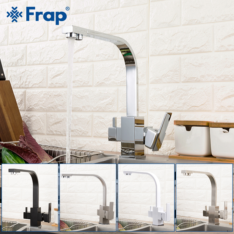Frap Kitchen Faucets 360 Degree Rotation Black Square Water Filter Tap Water Faucet Solid Brass Kitchen Sink Water Mixer Y40102