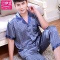 Masculino delgado hombres de seda pijamas de verano de manga corta de primavera otoño ropa de dormir camisón