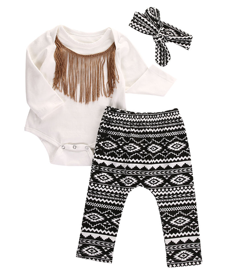 2017 new Hot Sale Sweet Baby Girls Clothes Set Fashion Tassel baby bodysuits+Full Print Pants +Headband Outfits Spring Autumn