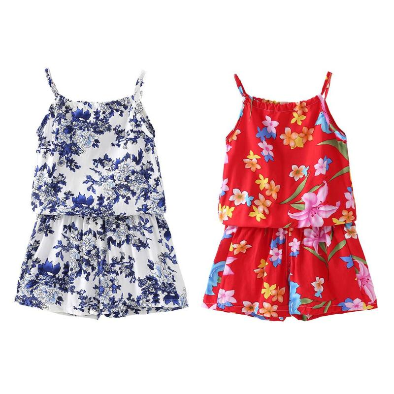 2pcs Summer Girls Clothes Set Floral Print Off Shoulder Tops Shorts Outfits Spaghetti Strap Tops Cotton Sweet Soft Clothes