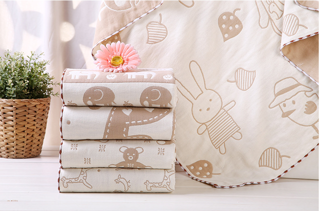100 * 100CM Organic Cotton 5  Layers Gauze Cartoon Baby Blanket  Soft Infants Cool  Summer Blanket  Children's Bedding Blanket