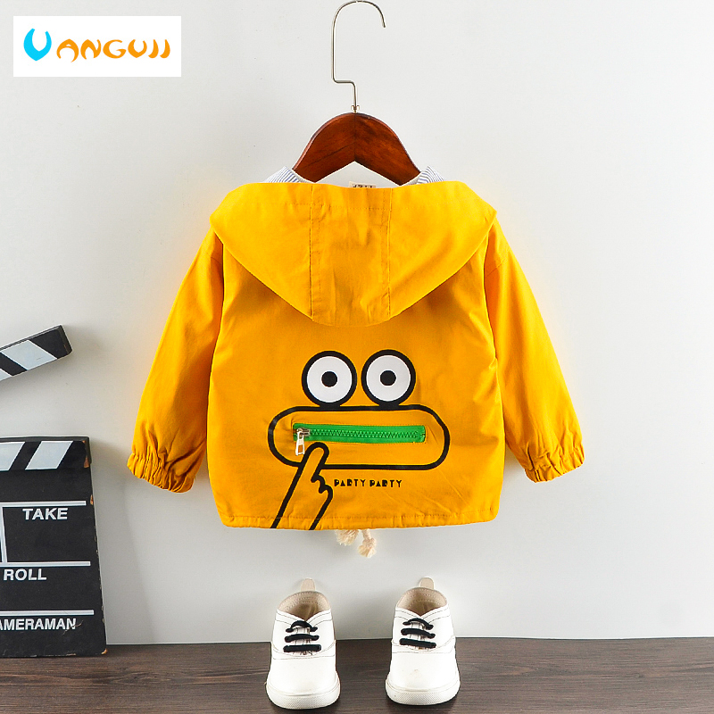 Boys windbreaker Autumn and winter girls trench 1-5 Years old cotton Cartoon Monkey Zipper Jacket Hooded top Big pocket hot sale