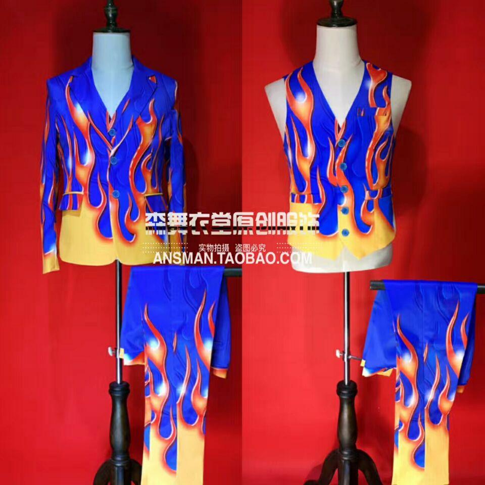 2017 mode Blazer hommes Fit Slim bleu feu Costumes discothèque Bar hommes chanteurs scène formelle robe Cocktail fête robe Costumes!