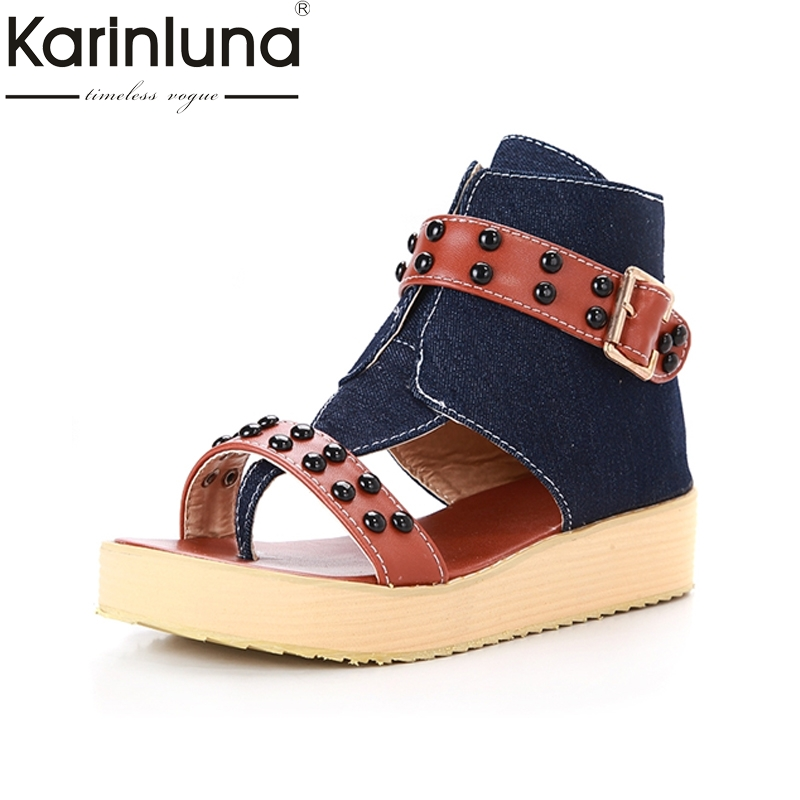 KARINLUNA Fashion Big Size 33-43 Rivets Rome Style Ankle Strap Women Shoes Platform Comfort Bottom Datinf Sandals GirlsKARINLUNA Fashion Big Size 33-43 Rivets Rome Style Ankle Strap Women Shoes Platform Comfort Bottom Datinf Sandals Girls
