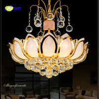 FUMAT Gold Lotus Shape Crystal K9 Stainess Steel LED Pendant Lighting Modern Chinese Luxury Lustres Hanging Crystal Balls Lamp