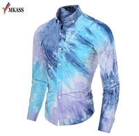 MKASS Brand New Fashion Men Shirt Color Gradient Design Slim Fit Shirt Men Casual Long Sleeve