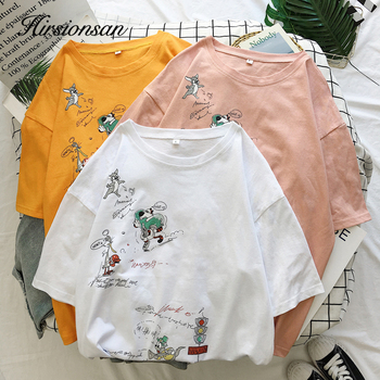 Cartoon T Shirt Women Summer Tops O-Neck Loose