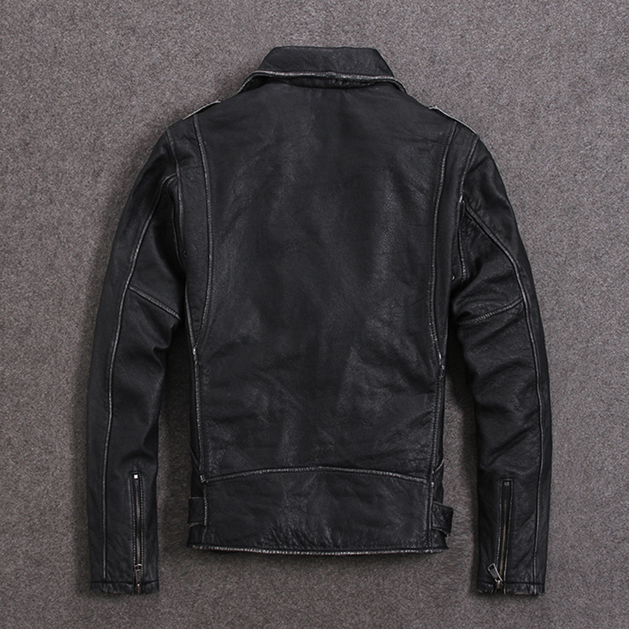 Image 5 - HARLEY DAMSON Vintage Brown Men Slim Fit Biker's Leather Jacket Plus Size XXXXXL Genuine Cowhide Short Motorcycle Leather Coat-in Genuine Leather Coats from Men's Clothing