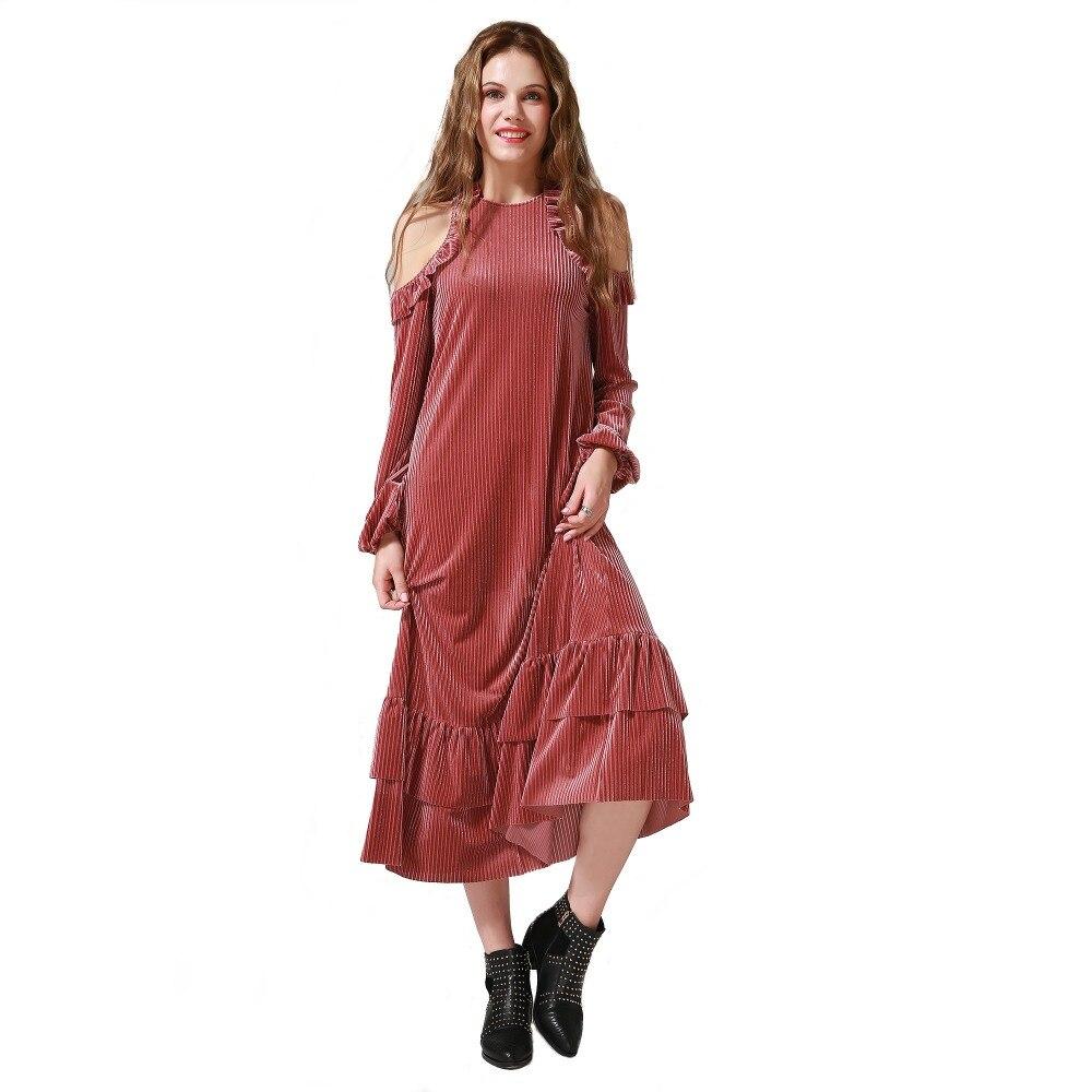 Produs 2017 Women Fashion European Style Velvet Dress Vintage Senior Velvet Dress Lantern
