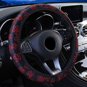 Image 3 - 38cm capa de volante do carro capa de volante para mulher capa de roda flores impressão antiderrapante funda volante acessórios do carro
