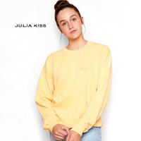 Women Relaxed Fit Blended Cotton Pullover Sweatshirt Honey Embroidery Sweatshirt