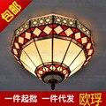 Европейский Тиффани красный потолочный светильник Китайский ретро спальня балкон бар Ресторан Декоративные