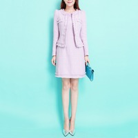Spring And Autumn New Fashion Women S Solid Color Tweed Long Sleeve Blazers Slim Hip Sleeveless