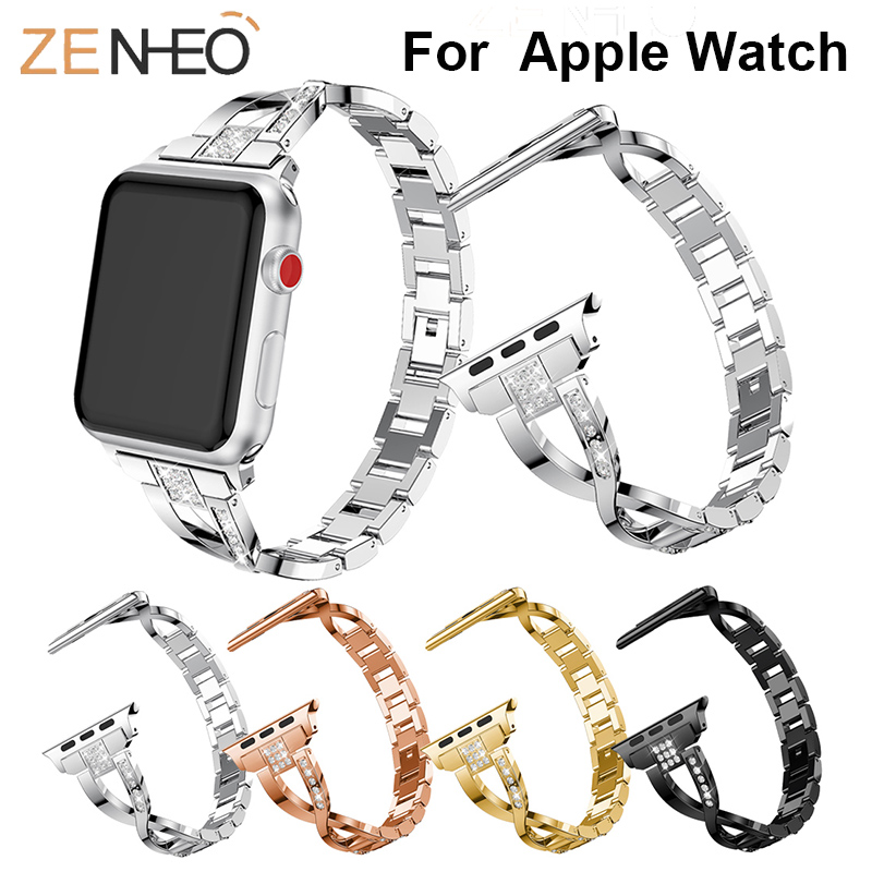 For Apple Watch Band 40mm 44mm 38mm 42mm Women Diamond Band For Iwatch Series 4 3 2 1 Bracelet Stainless Steel Strap Wristband
