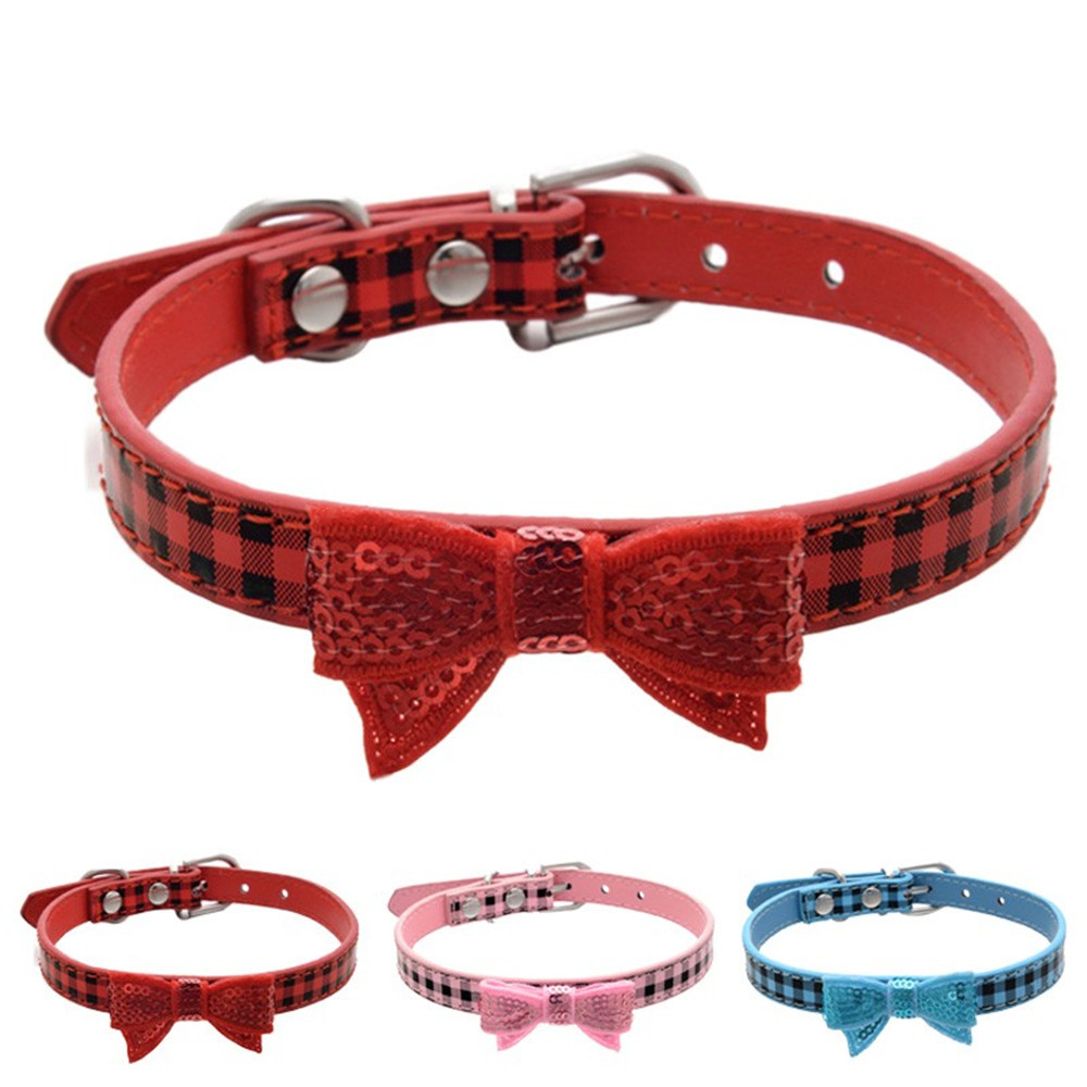 XS/S/M 1Pcs Pet Collar Puppy Choker Dogs Cat PU Leather Solid Personalized Necklace Adjustable RED PINK BLUE #01