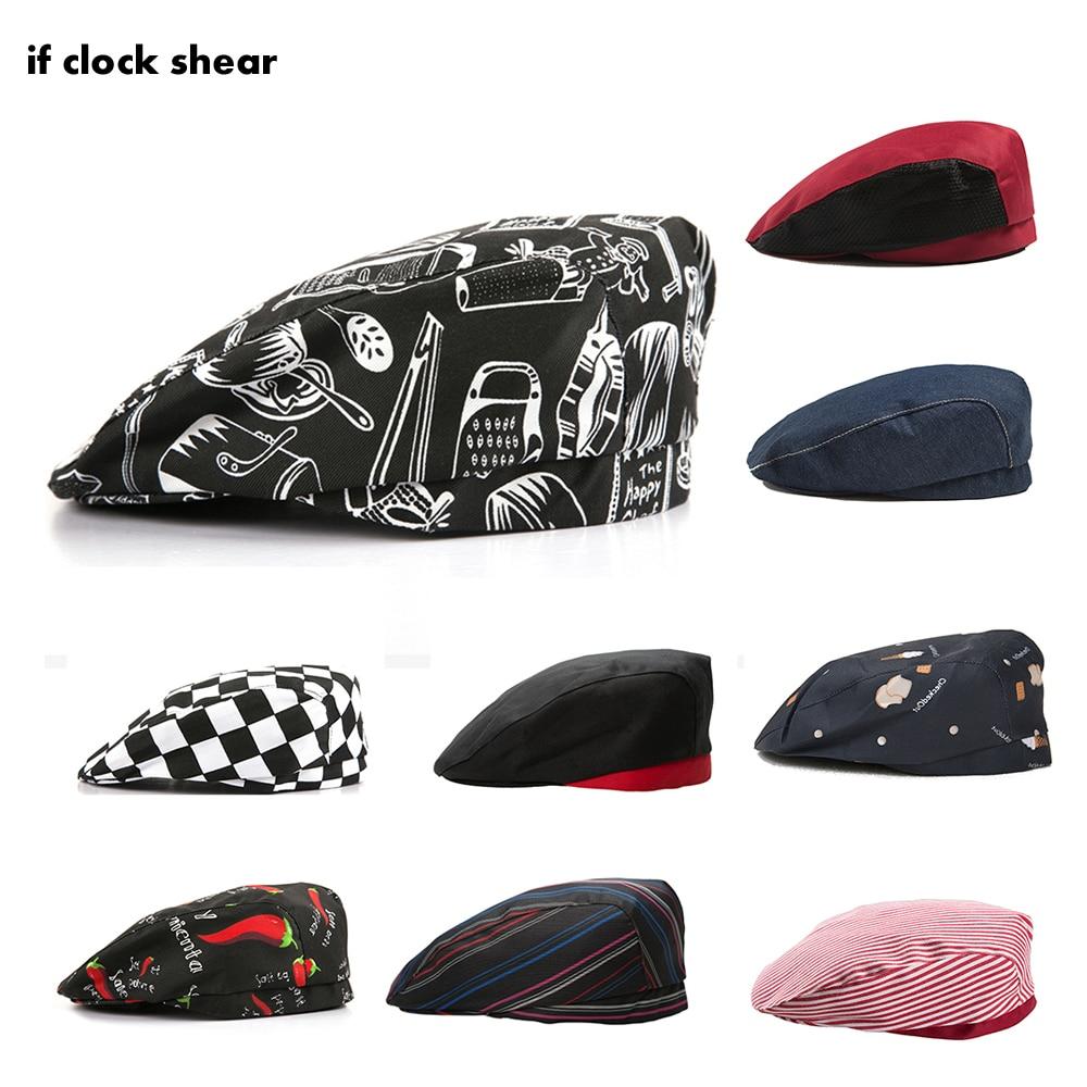High Quality Chef Hats Chef Hats Cafe Bar Waiter Beret Restaurant Kitchen Workwear Baking Caps Men Women Breathable Forward Caps