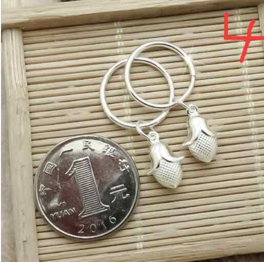 YAN เลือกเครื่องประดับสไตล์ 999 เงินรูรับแสงต่างหูหญิงแฟชั่นป้องกันโรคภูมิแพ้เล็กสด 15 มม. ต่างหู