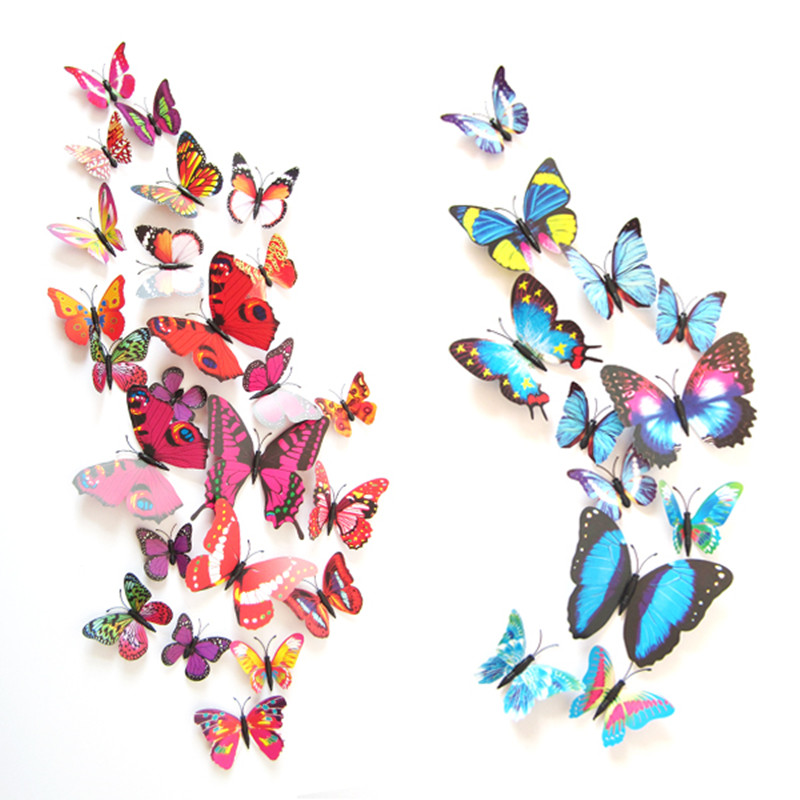 12 pcs/set DIY 3D Butterfly wall stickers home decor for living room,bedroom,kitchen,toilet,and Festive wedding decoration ws006 rysunek kolorowy motyle