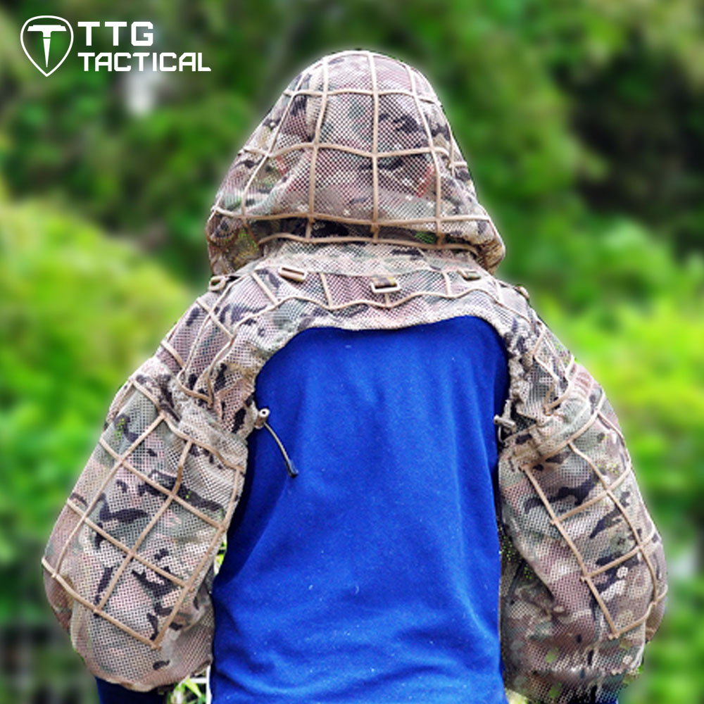 Tactical Ghillie Suit Foundation GHillie Hood for Airsoft Paintball Hunting Camouflage Military Sniper Top Ghillie Suit military camouflage ghillie suit woodland grass hay style paintball leaf jungle sniper clothes hunting tactical shade clothing