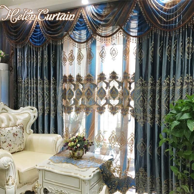 cenefa cortinas para la sala de estar de lujo bordado de terciopelo grueso