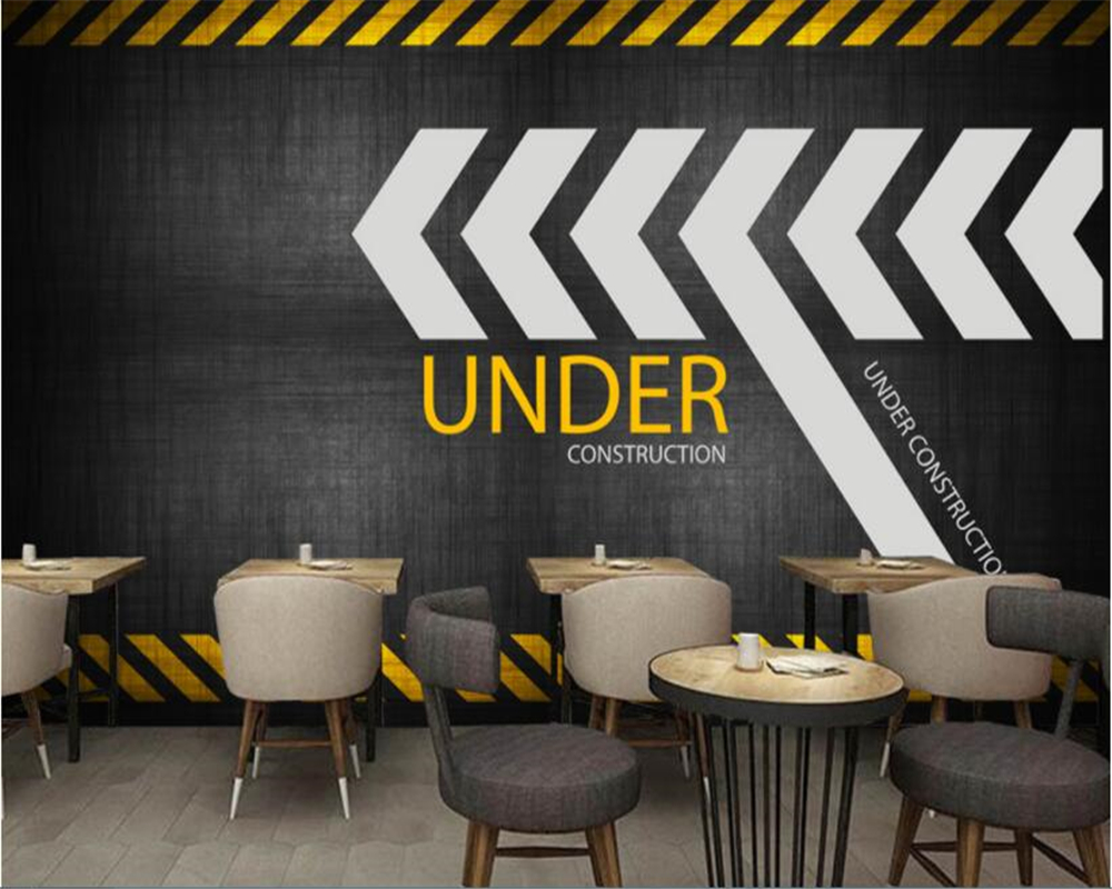 beibehang papel de parede wallpaper hudas beauty 3 metal industrial wind retro warning with mural background wall papier peint