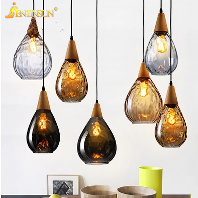 Nordic Simple Bar Restaurant Pendant Light Creative Colored Glass Wood LED Hanging Lamp Home Fixtures Lighting for Living Room fumat stained glass table lamp high quality goddess lamp art collect creative home docor table lamp living room light fixtures