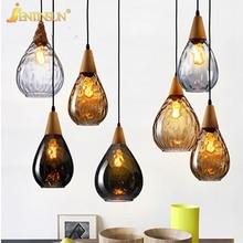 Nordic Einfache Bar Restaurant Pendelleuchte Kreative Farbigen Glas Holz LED Hngelampe Hause Leuchten Beleuchtung Fr Wohnzimme