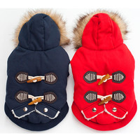 FP09 Warm Winter Dog Cotton Padded Clothes Small Dogs Horn Buttons Pet Cat Coat Jacket Costume