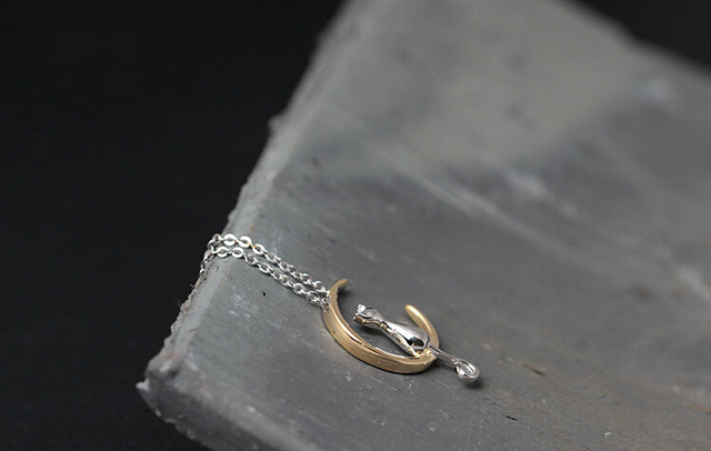 Moon Cat 925 Sterling Silver Necklace & Pendant