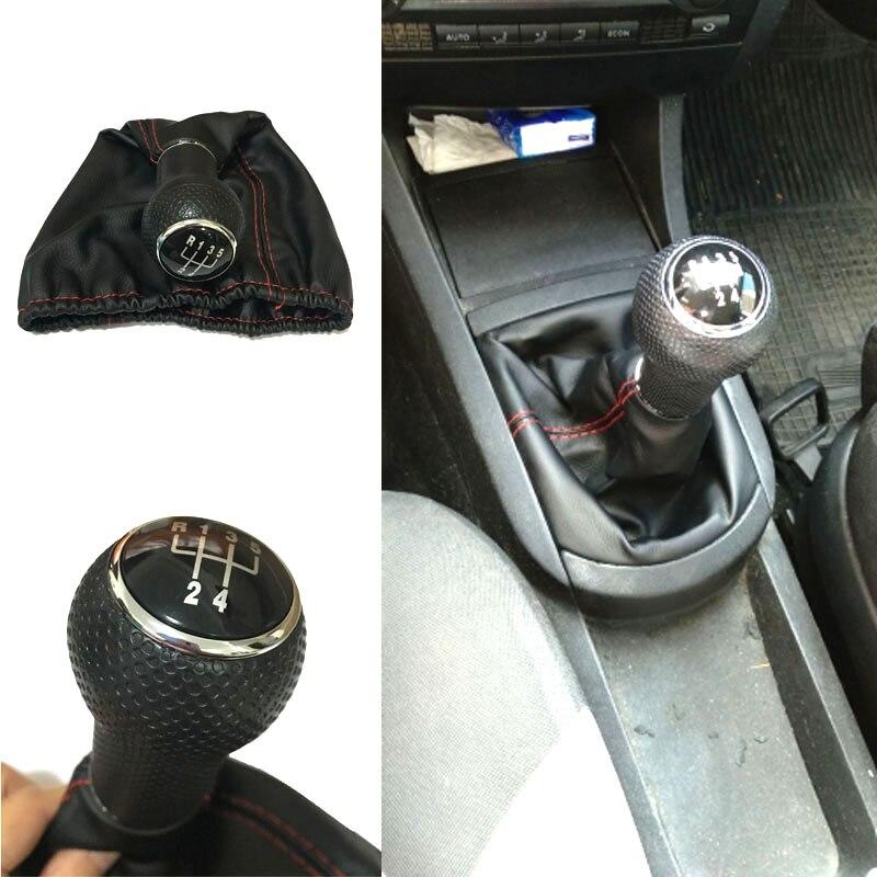 Seat Ibiza 1996 için 1997 1998 1999 2000 2001 5 Hız MT Araba vites topuzu Kolu Sopa Vites Topuzu PU deri Kırmızı Siyah Dikiş