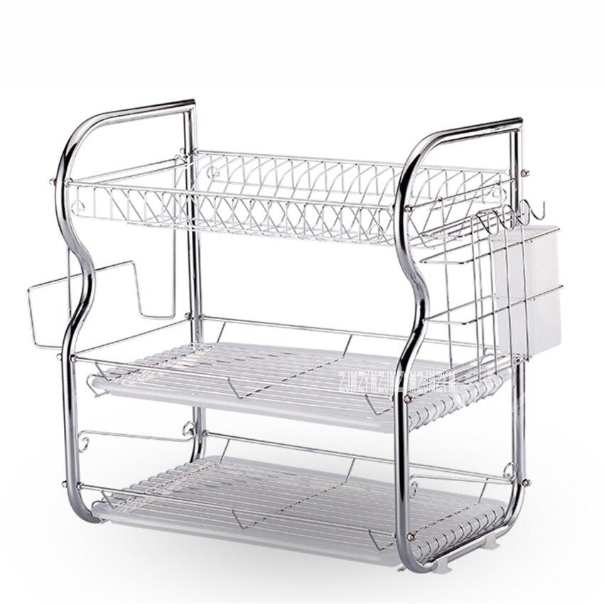 Kitchen Rack Set: New Household Drain Dish Rack Set Three Layers Storage