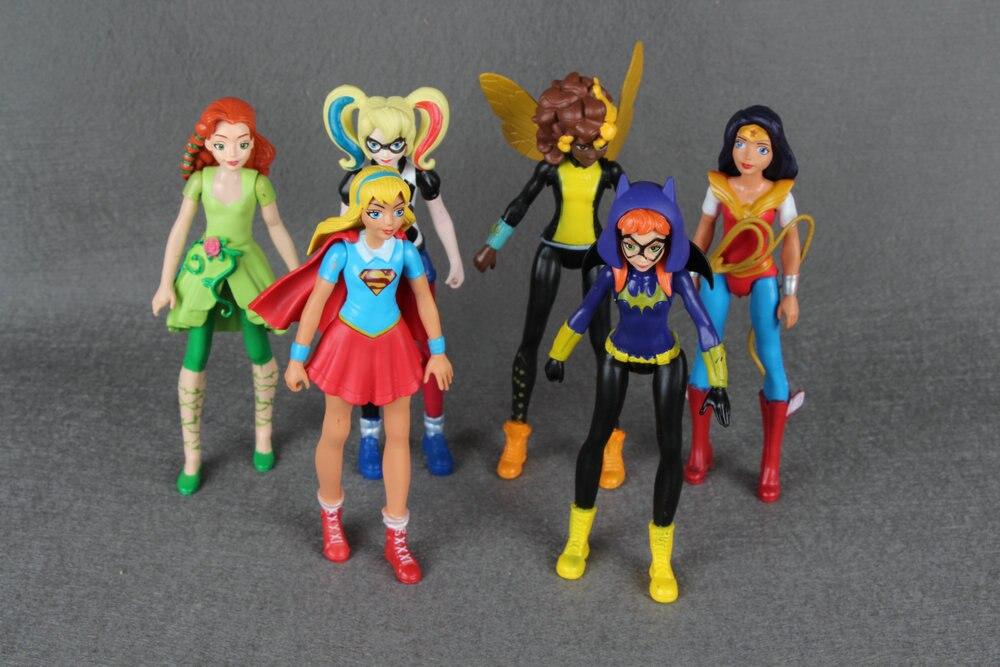 6pcs <font><b>DC</b></font> <font><b>Super</b></font> <font><b>Hero</b></font> <font><b>Girls</b></font> <font><b>Batgirl</b></font> Poison Ivy Bumble Bee Harley Quinn <font><b>Action</b></font> <font><b>figure</b></font> Doll Toy
