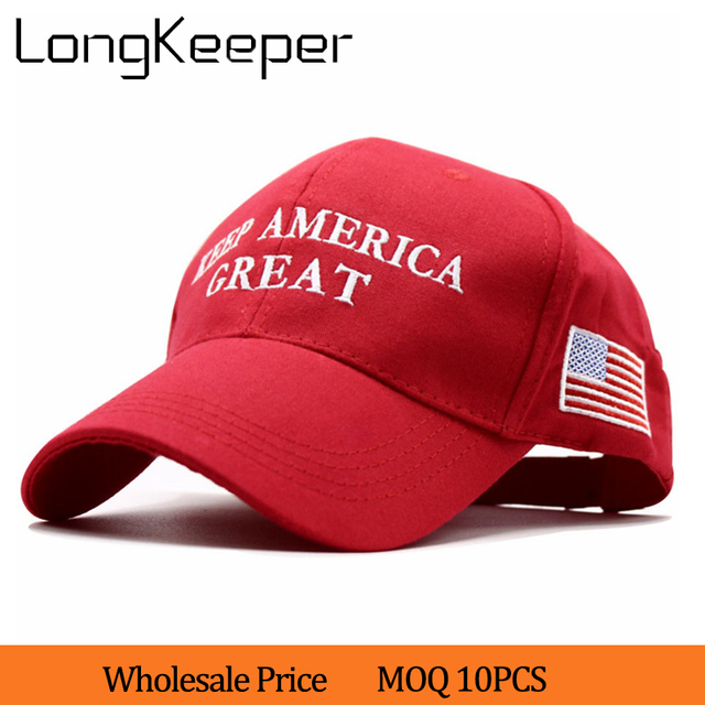 Embroidery KEEP AMERICA GREAT 2020 Donald Trump Red Black Hat Re-Election  Cap Cotton Baseball Hat Cap Daddy Cap Wholesale 10pcs 15e540c22350