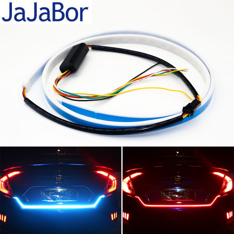JaJaBor Car DRL Ice Blue and Red Flexible LED Strip Flowing Rear Trunk Tail Light Brake Turn Signal Warning Flash Light blue red white yellow led strip tail streamer brake turn signal warning lighting car styling dynamic streamer drl tail lights