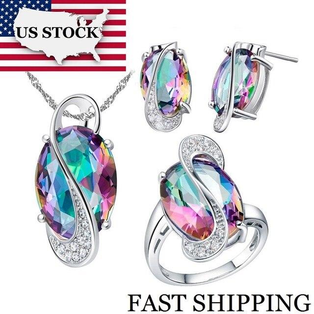 USA STOCK Uloveido Women Wedding Bridal Jewelry Set Crystal Brides Stud Earrings Big Ring Necklace Costume Jewelry Sets 50% T155