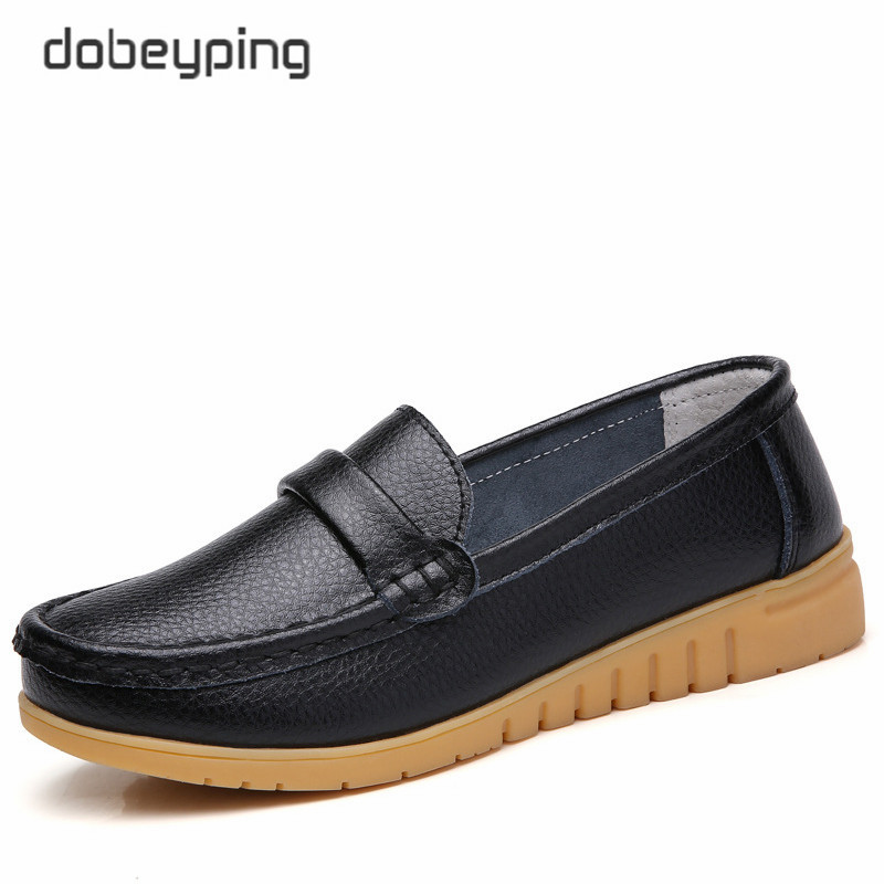 Image 3 - dobeyping New Genuine Leather Shoes Woman Slip On Women Flats Moccasins Women's Loafers Spring Autumn Mother Shoe Big Size 35 44-in Women's Flats from Shoes