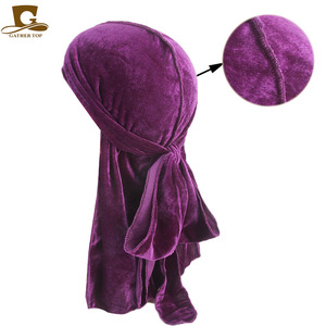 14pcs/lot Men Women Breathable Bandana Hat velvet Durag do doo du rag long tail headwrap chemo cap