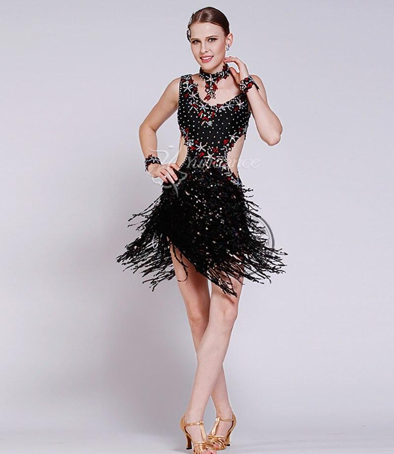 CUSTOM YELLOW LATIN SALSA SAMBA BEAD Fringe DANCE DRESS