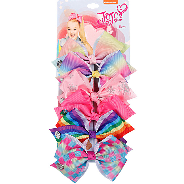 6 Pieces/Set JoJo Bows Jojo Siwa Rainbow Printed Knot Ribbon Bow For Girls Handmade Boutique Hair Clip Children Hair Accessories