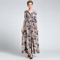Vintage Floral Piste Maxi Dress Femmes de 3/4 Manches Imprimé Party Celebrity robe de Bal Longue Dress
