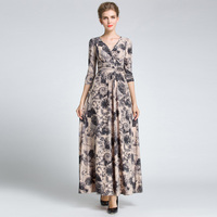 Vintage Floral Runway Maxi Dress Women S 3 4 Sleeve Printed Celebrity Party Ball Gown Long