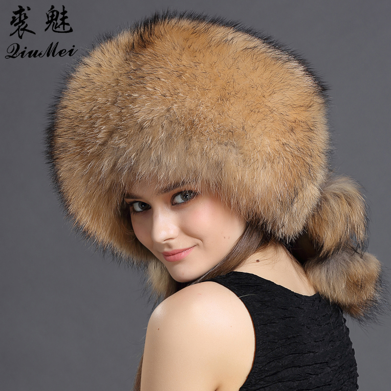 QiuMei Winter Women Fur Bomber Hats Real Raccoon Fur Brown/Wine Trapper Hats Caps Pompom Male Russian Bomber Hat Genuine Fur globe panther golden brown fur