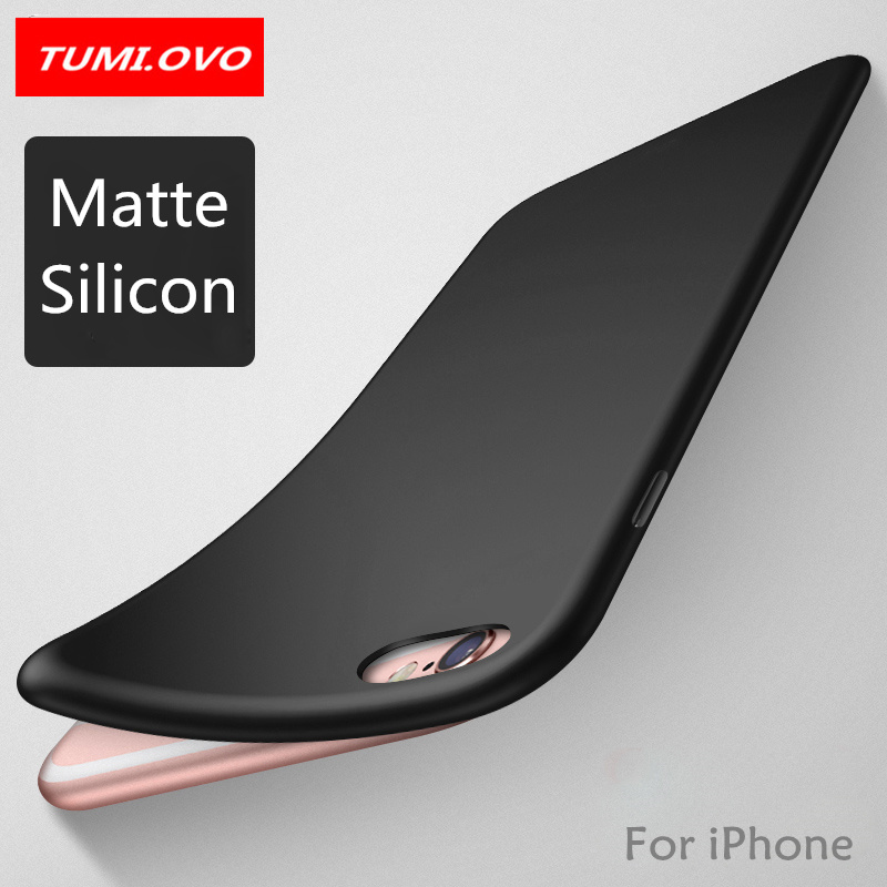 Galleria fotografica TUMI.OvO Fashion Soft Matte Case For iPhone X Cases 6 6S 7 8 Plus 5 5S 360 Full Cover TPU Silicone Phone Cover Protection Shell