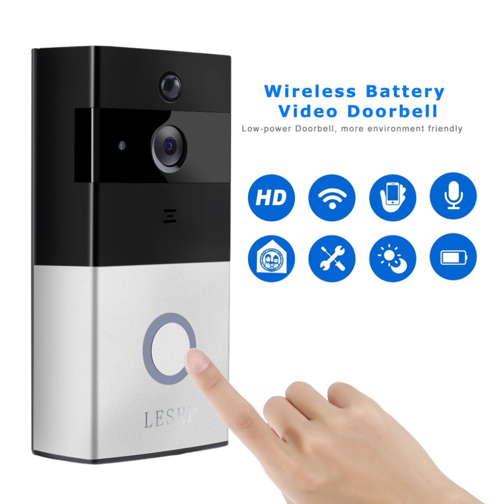 LESHP 1080P Wireless WiFi Battery Ring Video Doorbell HD 2.4G Phone Remote PIR Motion Two-way Talk Home Alarm Security hot sale 1080p hd video doorbell wireless wifi battery ring infrared led 2 4g phone remote pir motion two way talk home alarm security