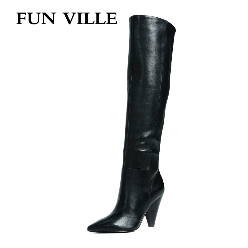 FUN VILLE 2018 New Sexy Women knee High Boots Genuine Leather Winter Boots Warm Pointed toe
